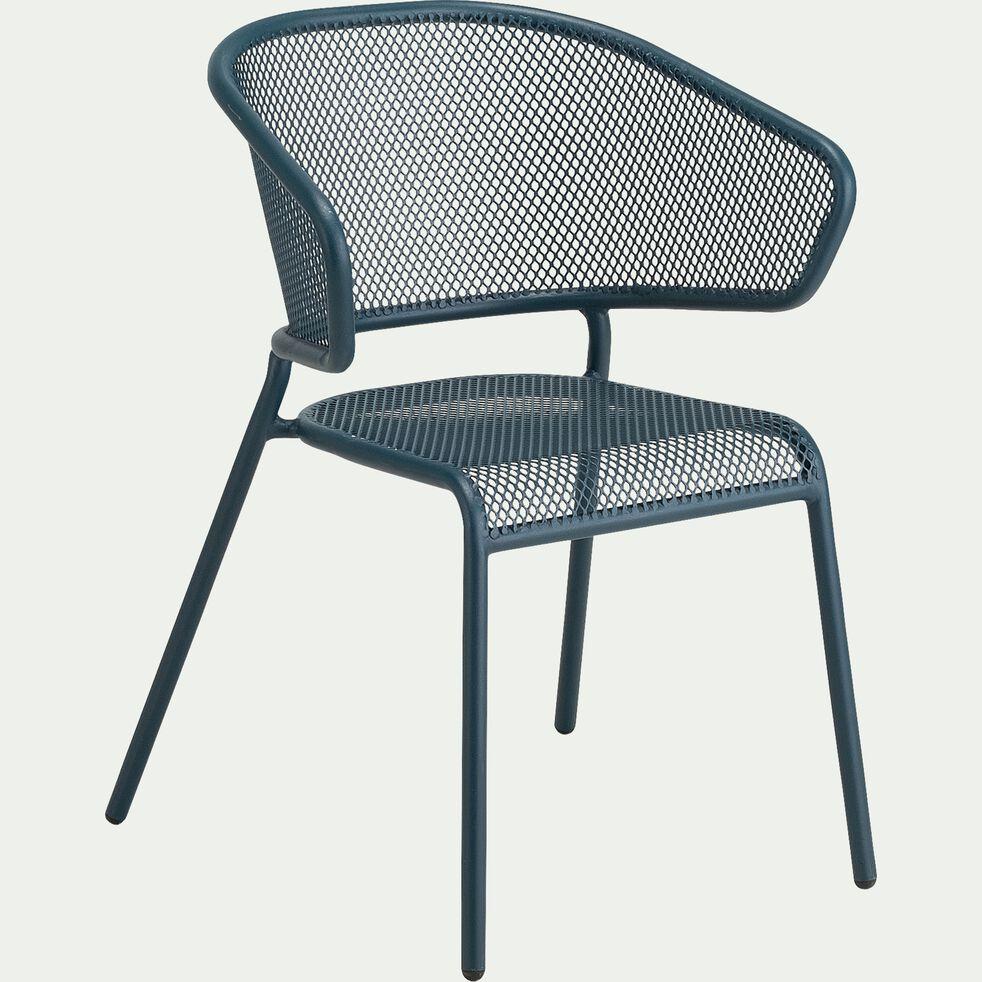 Chaise de jardin en acier avec accoudoirs - bleu figuerolles-RICARDO