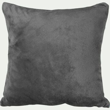 Housse de coussin effet polaire en polyester - gris restanque 65x65cm-ROBIN
