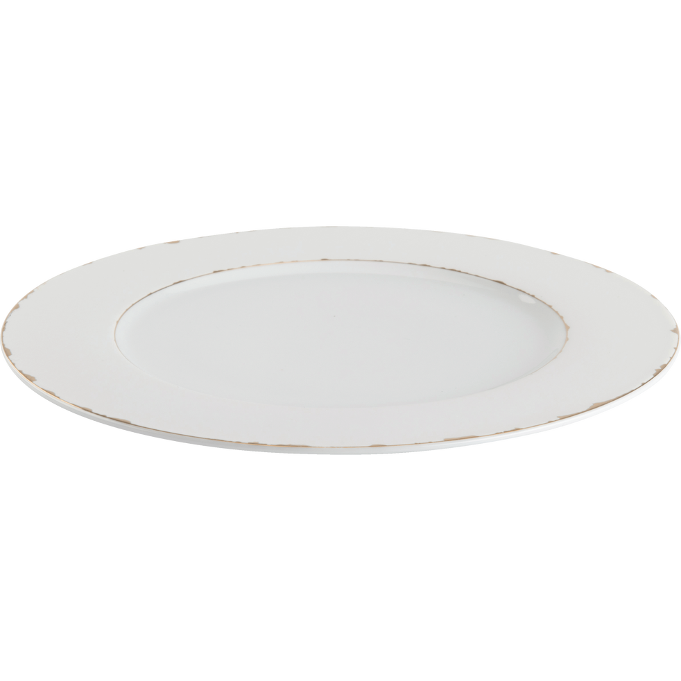 Assiette plate en porcelaine blanche et dorée D27cm-REINE