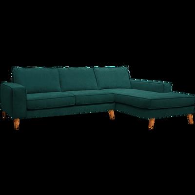 Canapé d'angle fixe droit en tissu bleu figuerolles-CALIFORNIA