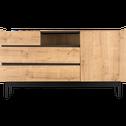Buffet bas coloris chêne et ardoise-MADON