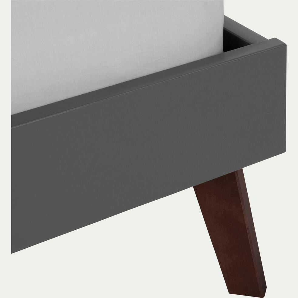 Lit finition bois Gris restanque - 140x200 cm-SACHA