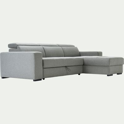 Canapé d'angle réversible et convertible en tissu - gris borie-ORIGANO