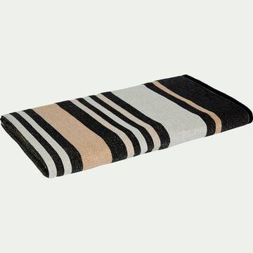 Drap de plage fouta en coton rayé noir 100x180cm-ORONTE