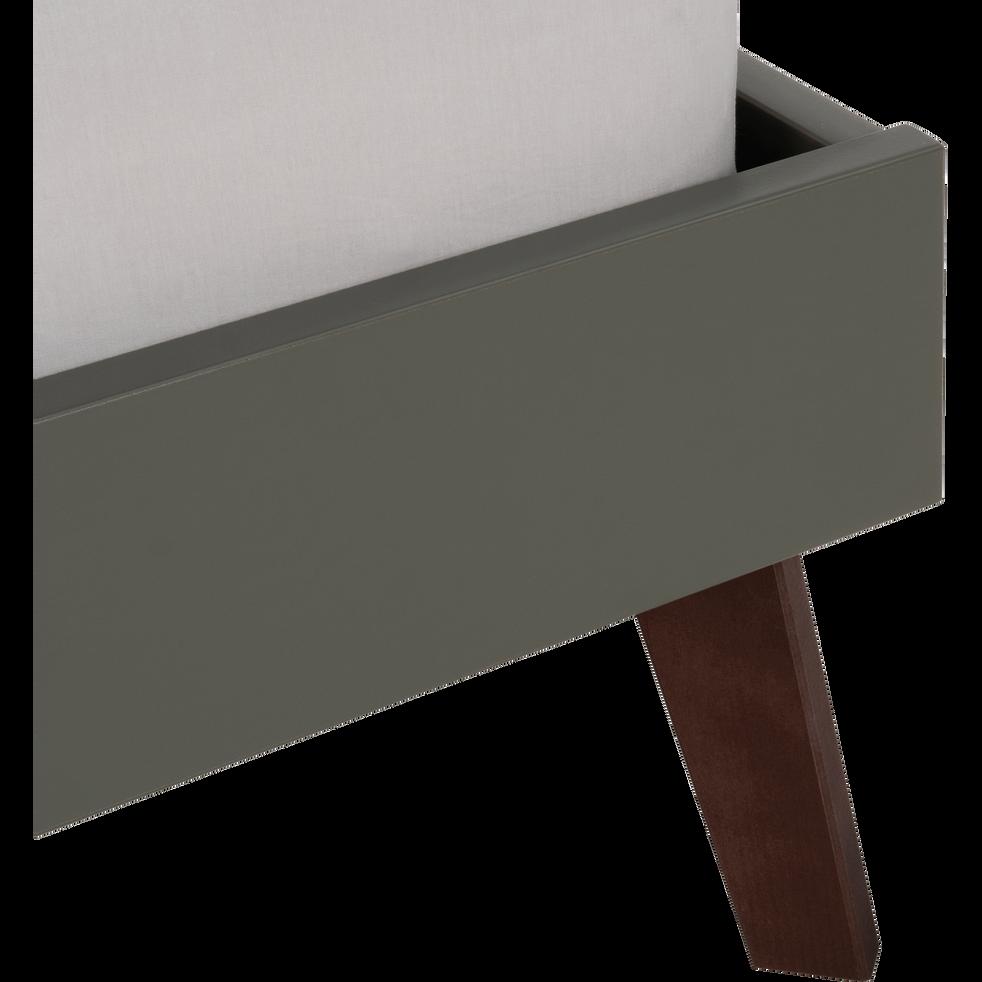 Lit finition bois Vert cèdre - 140x200 cm-SACHA