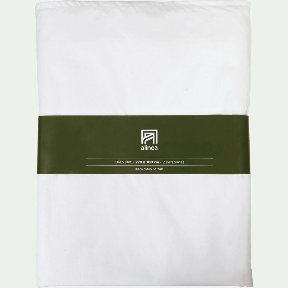 Drap plat en percale de coton - blanc 270x300cm-FLORE