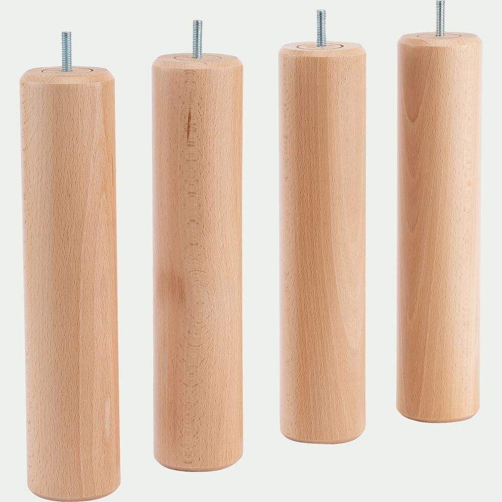 Lot de 4 pieds de sommier - H30cm bois clair-CYLINDRE