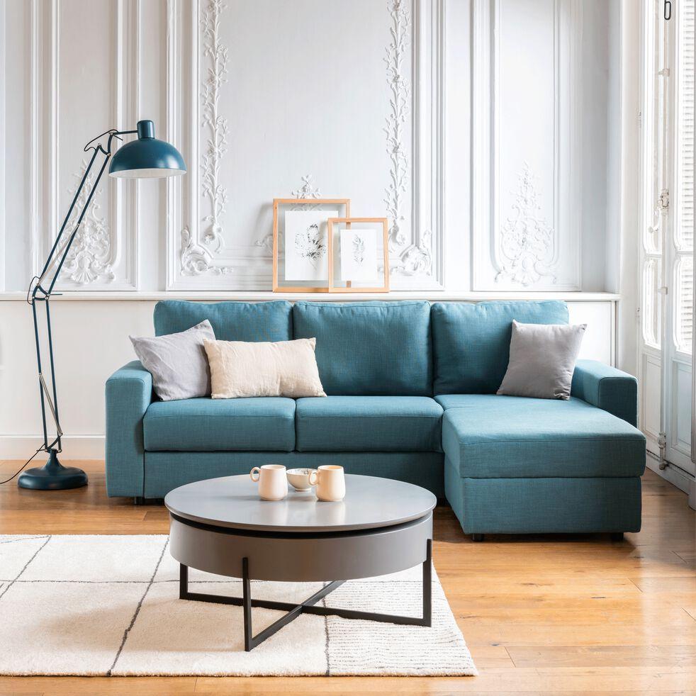 Canapé d'angle réversible convertible en tissu bleu figuerolles-FERNAND