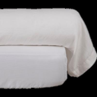 Taie de traversin en lin Blanc 45x190cm-VENCE