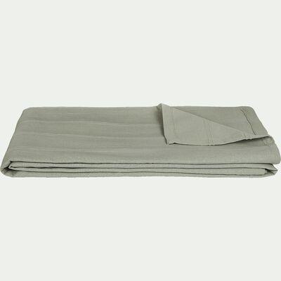 Couvre-lit tissé en coton - vert olivier 230x250cm-BELCODENE