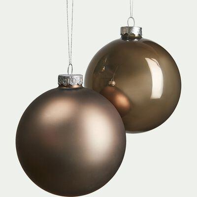 Lot de boules en verre couleur bronze 4 pièces D10cm-MARIOS