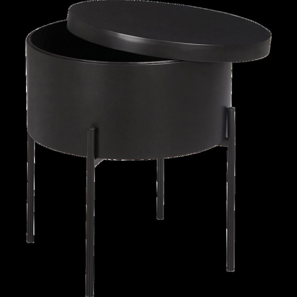 bout de canap noir avec coffre de rangement doufino. Black Bedroom Furniture Sets. Home Design Ideas