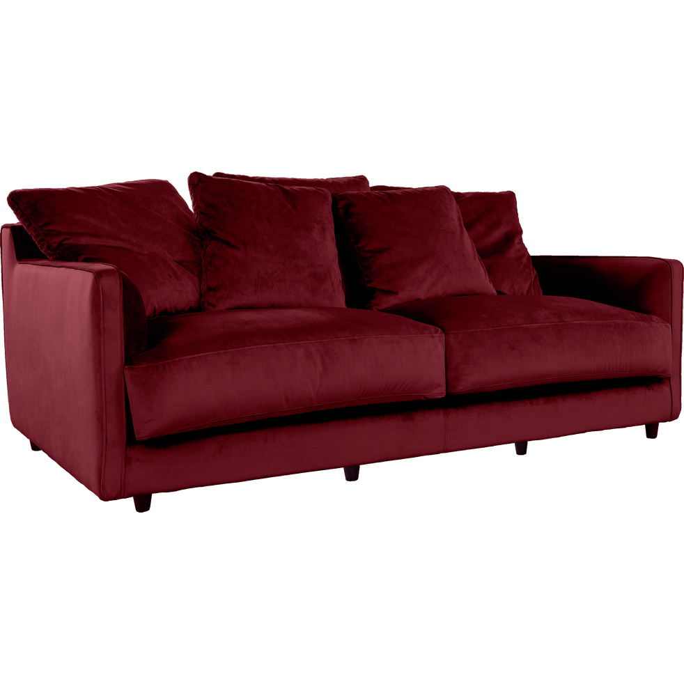 canap 3 places convertible en velours rouge sumac lenita canap s en tissu alinea. Black Bedroom Furniture Sets. Home Design Ideas