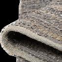 Tapis tressé en cuir gris 150x200 cm-MARIELLE