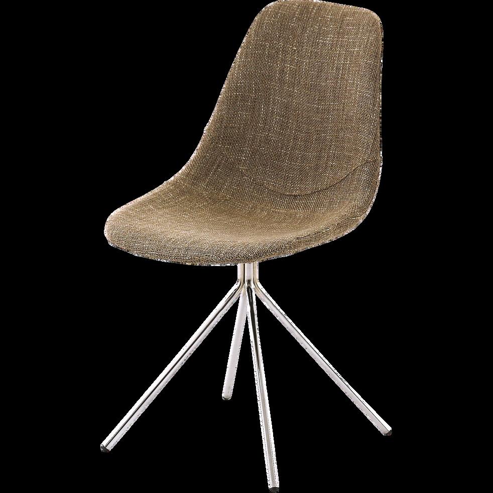 Chaise en tissu rétro pieds compas beige-LUCILLE