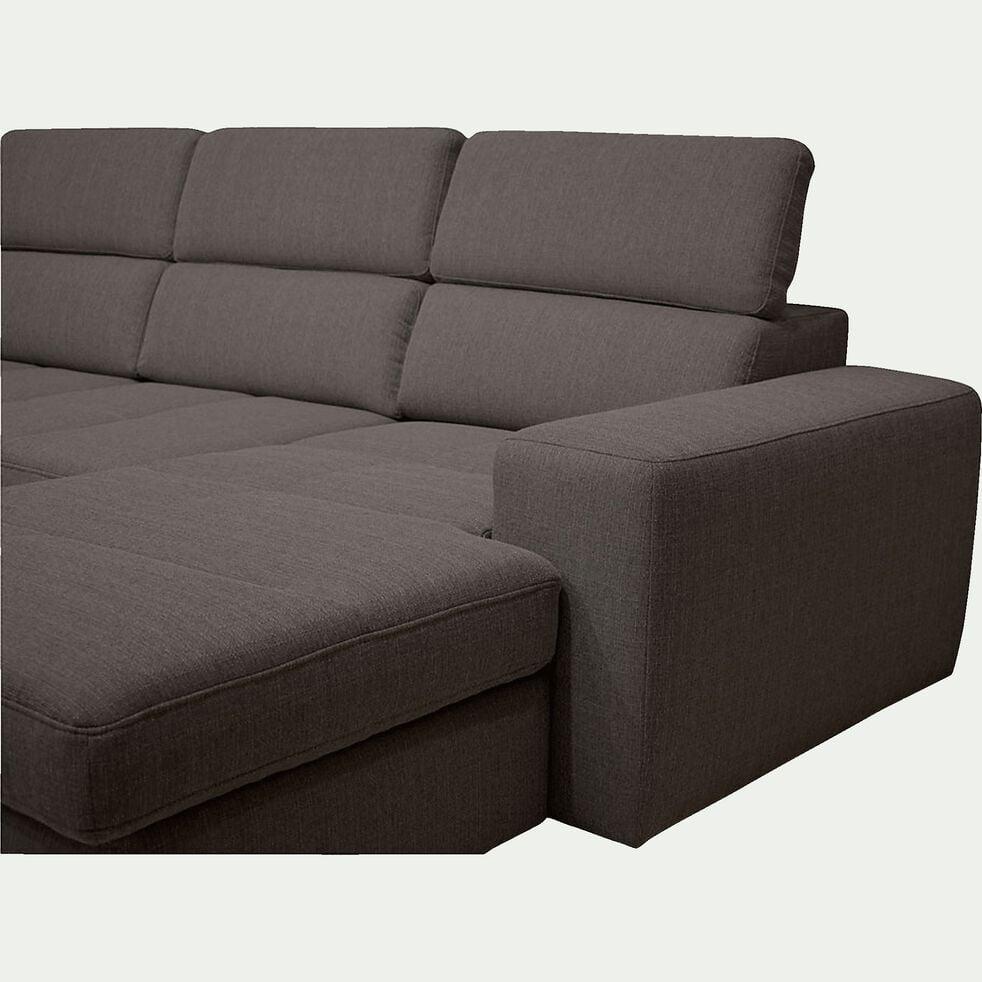Canapé d'angle en U convertible avec méridienne à droite en tissu - gris anthracite-TONIN