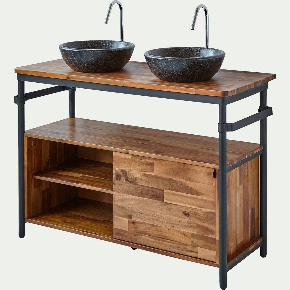 Meuble sous-vasque en acacia et métal 120cm-Kota