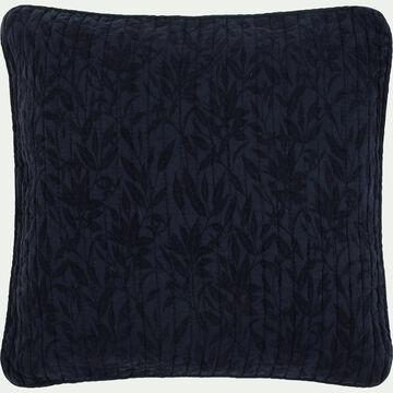 Housse de coussin motif fleur d'oranger - bleu calabrun 65x65cm-ORANGER