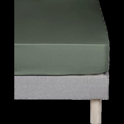 Drap housse en coton Vert cèdre 160x200cm -bonnet 30cm-CALANQUES