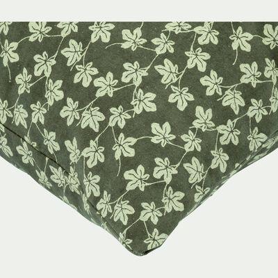 Coussin en coton vert à motif floral 40x40cm-FIGUIER