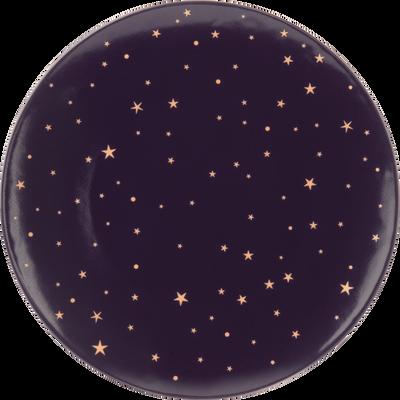 Assiette à dessert en porcelaine violette D21cm-LYRE