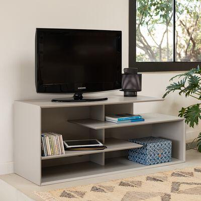 Meuble TV asymétrique en bois - gris L120cm-FABRO
