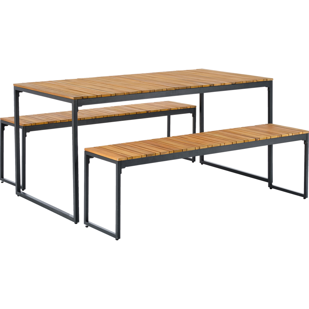 Table et bancs de jardin en acacia (4 à 6 places)-ACA