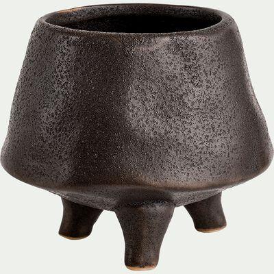 Cache-pot trois pieds en céramique émaillée - noir D9,5xH8cm-GEBIZ