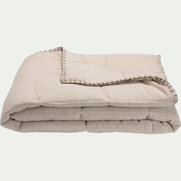 Couvre-lit en lin et coton finition point de cheval - naturel 130x170cm-SCACCHI