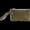 Porte-monnaie en cuir vert cèdre H10x16cm-EUGENIE