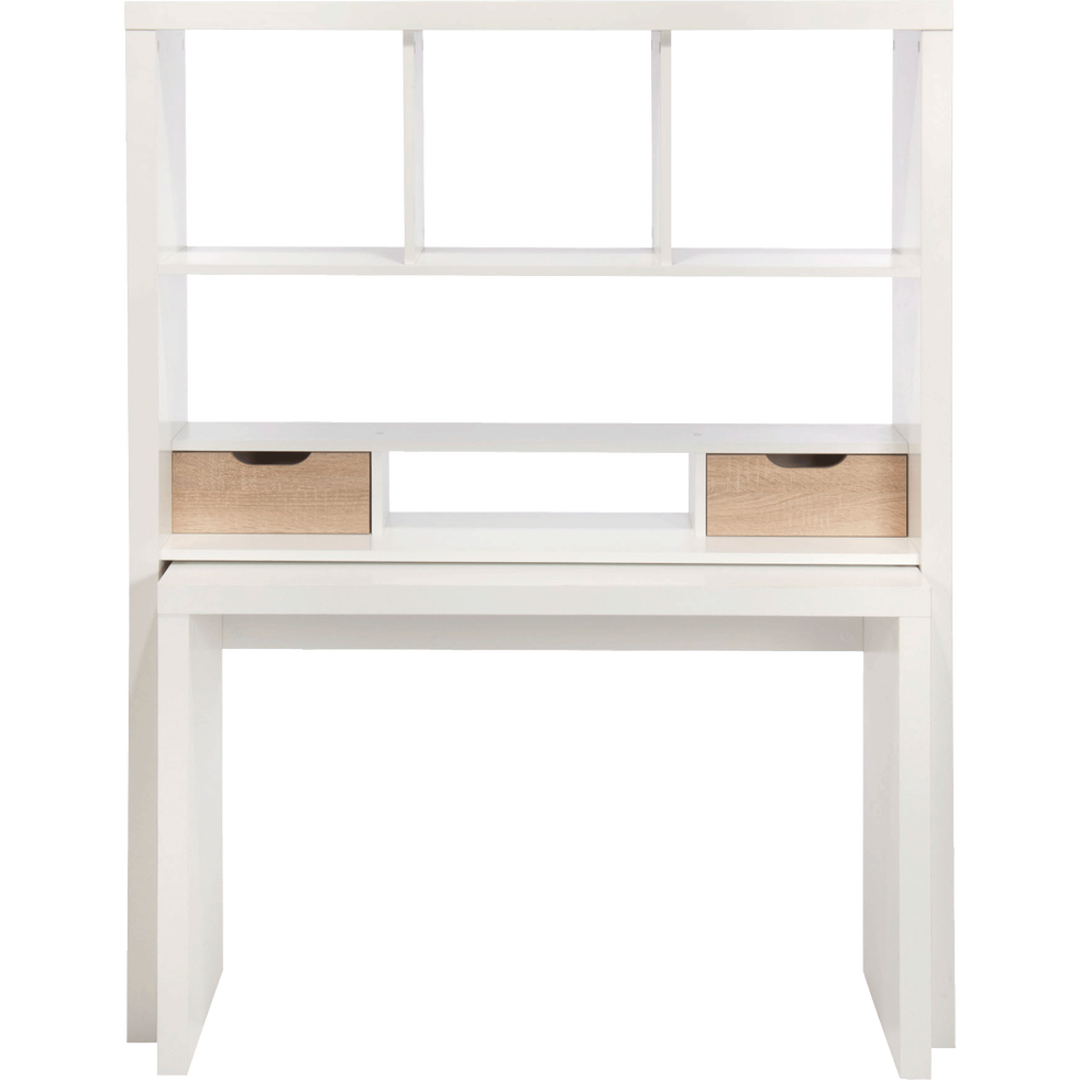 bureau modulable blanc avec tag res et tiroirs twisty. Black Bedroom Furniture Sets. Home Design Ideas