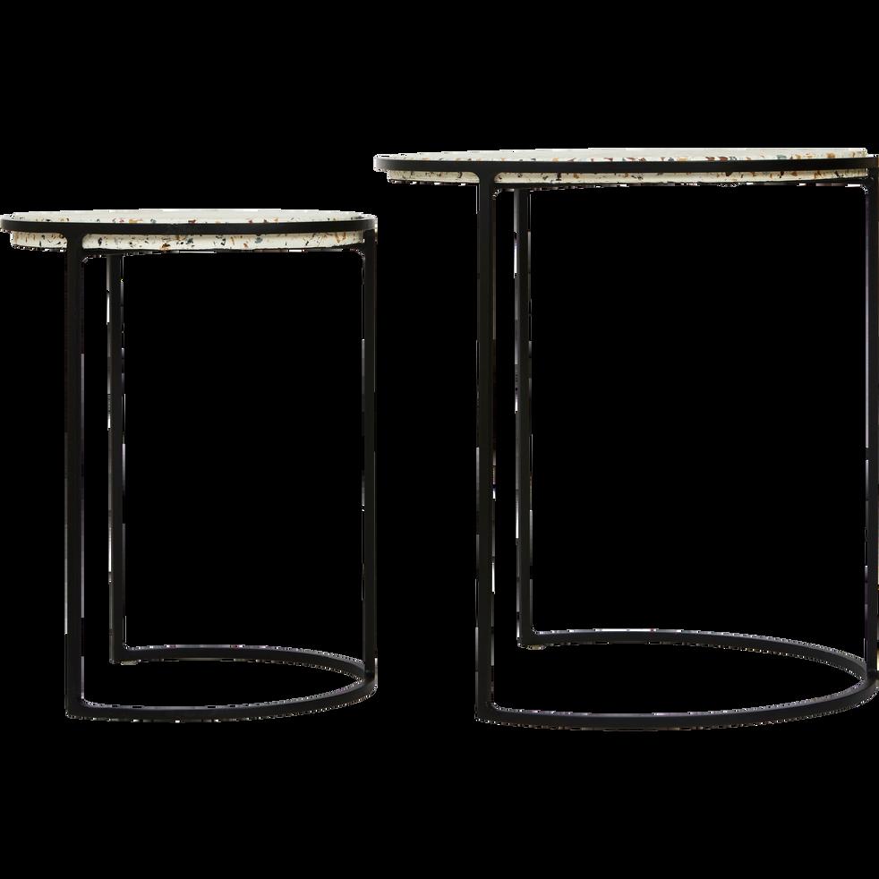 Ensemble de 2 bouts de canapé en acier et terrazzo-THEZA