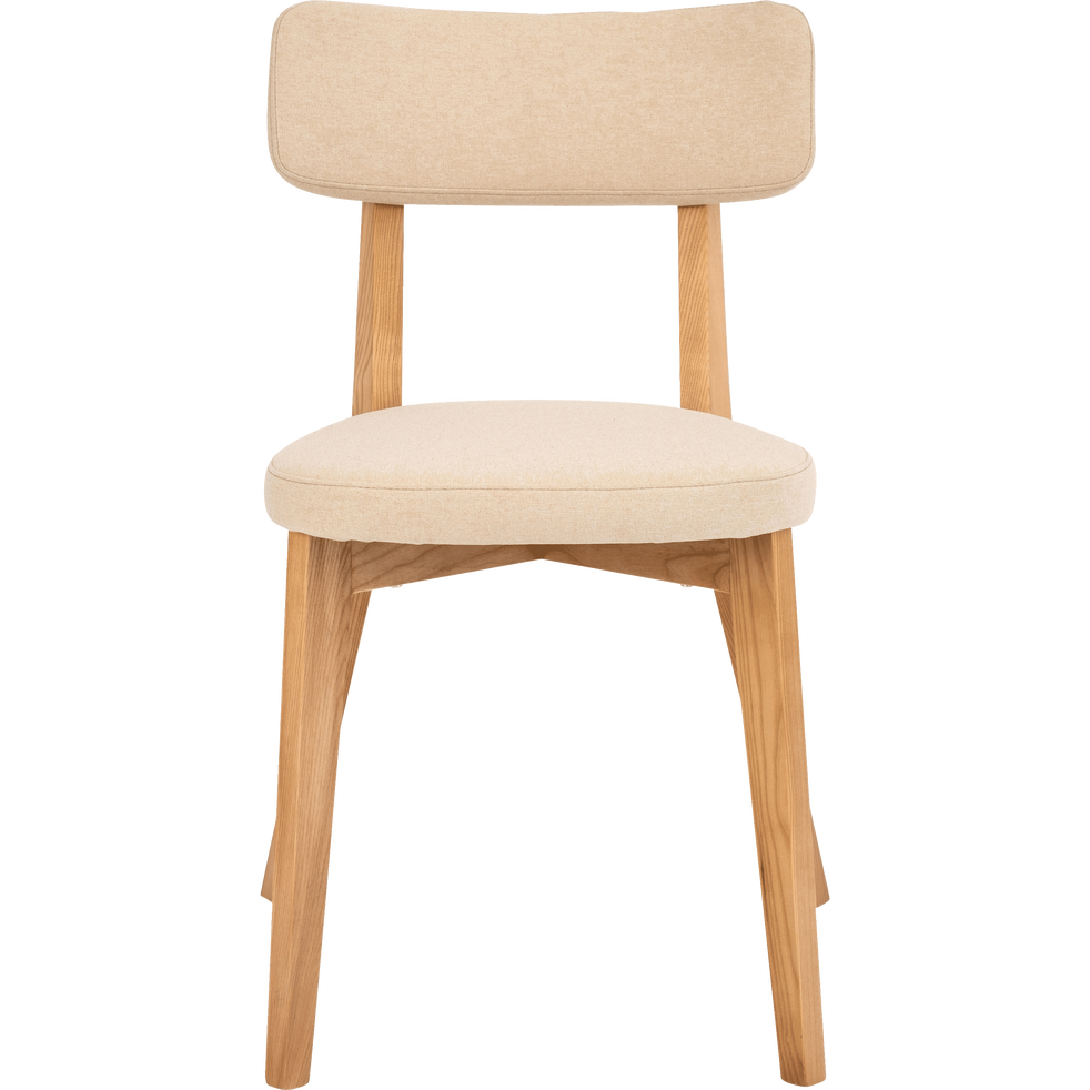 Chaise En Tissu Blanc Nougat Avec Structure Bois Clair AMEDEE