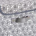 Panier à linge en lin motif jasmin - noir et blanc H60cm-ERRO