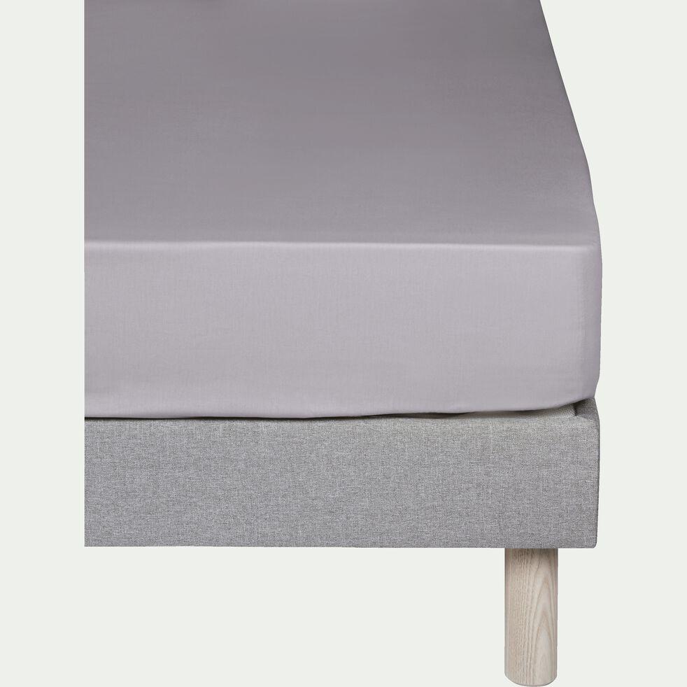 Drap housse en percale de coton - gris restanque 160x200cm B25cm-FLORE