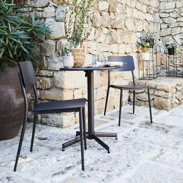Ensemble table et chaise de jardin en acier et aluminium - noir