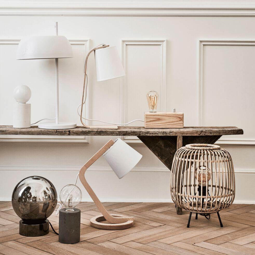 Lampe à poser en bois et coton H43cm E14-ELLICA