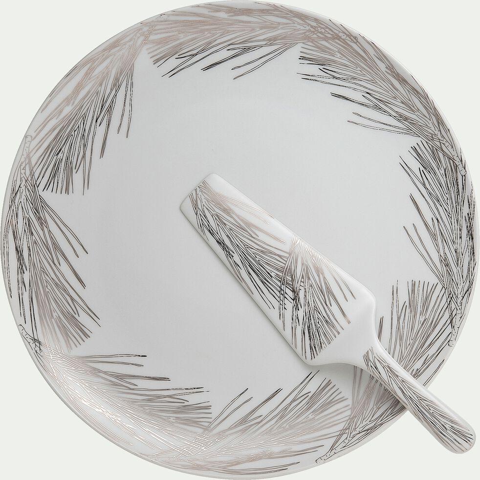 Plat à tarte et pelle en porcelaine blanche-COURONNE