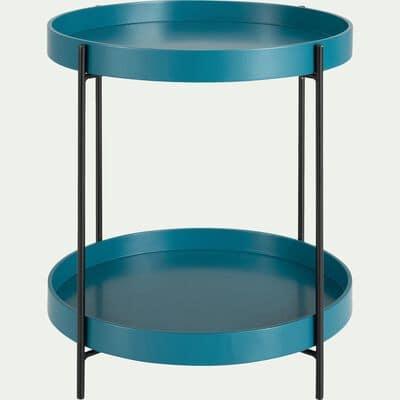 Bout de canapé rond à double plateau - bleu niolon-ARNAVO
