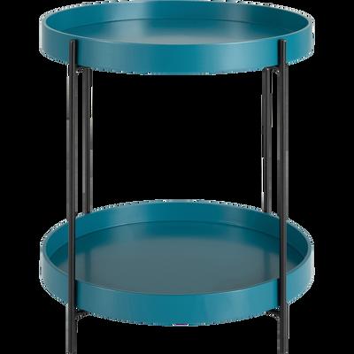 Bout de canapé rond à double plateau bleu niolon-ARNAVO