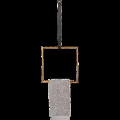 Patère à fixer carré doré et cuir-CAMARET
