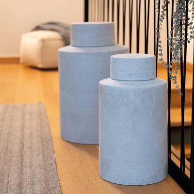 Vase avec couvercle effet béton (plusieurs tailles)-CALCIS