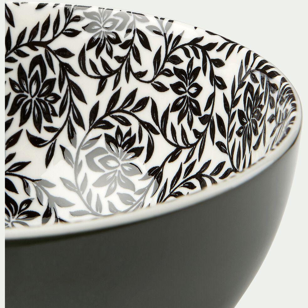 Bol en porcelaine motifs jasmin - vert cèdre D15cm-AIX