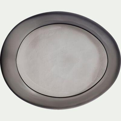 Coupe déco en verre poli - gris L37xl31xH8cm-ANA