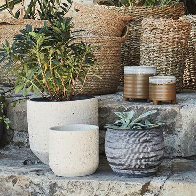 Vase en terre cuite - H50xD24cm blanc cassé-PENTA