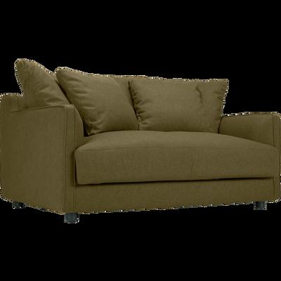 Canapé 2 places convertible en tissu vert cèdre-LENITA