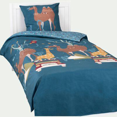 Housse de couette enfant 140x200cm et 1 taie d'oreiller - bleu-SAON