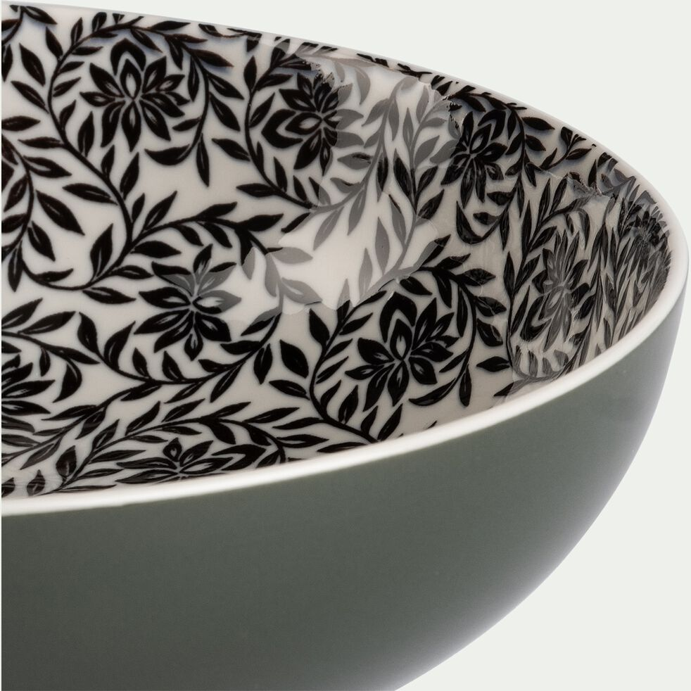 Assiette creuse en porcelaine motifs jasmin - vert cèdre D21cm-AIX