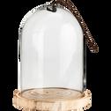 Cloche en verre sur support en bois H31xD21,5cm-VIDIA