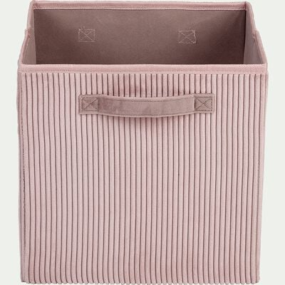 Panier de rangement en velours côtelé - rose H30xL30cm-Vela